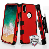 Military Grade Certified TUFF Hybrid Armor Case with Holster for iPhone XS / X - Red 006