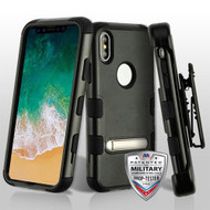 Military Grade Certified TUFF Hybrid Armor Kickstand Case with Holster for iPhone XS / X - Black