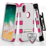 Military Grade Certified TUFF Hybrid Armor Kickstand Case with Holster for iPhone XS / X - Cream White Hot Pink