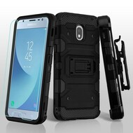 *SALE* Military Grade Certified Storm Tank Hybrid Case + Holster + Tempered Glass for Samsung Galaxy J3 (2018) - Black