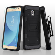 *SALE* Military Grade Certified Storm Tank Hybrid Case + Holster + Tempered Glass for Samsung Galaxy J7 (2018) - Black