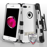 Military Grade Certified TUFF Hybrid Armor Kickstand Case with Holster for iPhone 8 Plus / 7 Plus - Silver