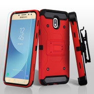 3-IN-1 Kinetic Hybrid Armor Case with Holster and Tempered Glass Screen Protector for Samsung Galaxy J7 (2018) - Red