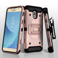 3-IN-1 Kinetic Hybrid Armor Case + Holster + Tempered Glass Screen Protector for Samsung Galaxy J7 (2018) - Rose Gold