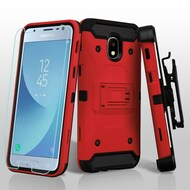 *Sale* 3-IN-1 Kinetic Hybrid Armor Case + Holster + Tempered Glass Screen Protector for Samsung Galaxy J3 (2018) - Red