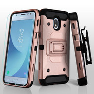 3-IN-1 Kinetic Hybrid Case + Holster + Tempered Glass Screen Protector for Samsung Galaxy J3 (2018) - Rose Gold