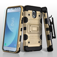 *SALE* Military Grade Certified Storm Tank Hybrid Case + Holster + Tempered Glass for Samsung Galaxy J3 (2018) - Gold