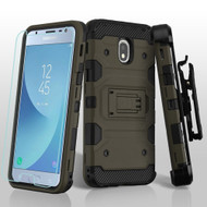 Military Grade Certified Storm Tank Hybrid Case + Holster + Tempered Glass for Samsung Galaxy J3 (2018) - Grey