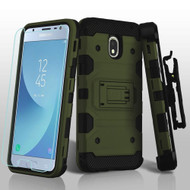 *SALE* Military Grade Certified Storm Tank Hybrid Case + Holster + Tempered Glass for Samsung Galaxy J3 (2018) - Green
