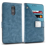 Cosmopolitan Leather Canvas Wallet Case for LG Stylo 4 / Stylo 4 Plus - Blue