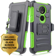 Advanced Armor Hybrid Kickstand Case + Holster + Tempered Glass Screen Protector for Motorola Moto E5 Plus - Green