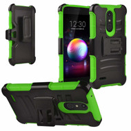 Advanced Armor Hybrid Kickstand Case with Holster and Tempered Glass for LG K30 / Harmony 2 / Premier Pro - Green
