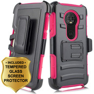 Advanced Armor Hybrid Kickstand Case + Holster + Tempered Glass Screen Protector for Motorola Moto E5 Plus - Hot Pink