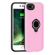 Smart Power Bank Battery Case 3700mAh with Ring Holder for iPhone 8 Plus / 7 Plus / 6S Plus / 6 Plus - Pink