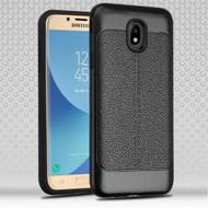 Leather Texture Anti-Shock Hybrid Protection Case for Samsung Galaxy J7 (2018) / J7 Refine / J7 V (2nd Gen) - Black