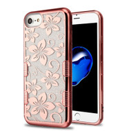 Tuff Full Glitter Electroplating Hybrid Protective Case for iPhone 8 / 7 / 6S / 6 - Hibiscus Flower