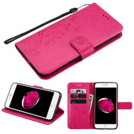Embossed Butterfly Flower Leather-Style Wallet Stand Case for iPhone 8 Plus / 7 Plus - Hot Pink