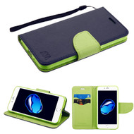Leather Wallet Shell Case for iPhone 8 / 7 - Navy Blue Green
