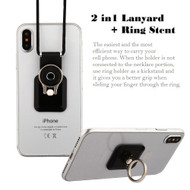 2-IN-1 Smart Loop Universal Smartphone Holder & Stand with Lanyard - Square Black