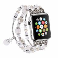 Faux Pearl Natural Agate Stone Watch Band for Apple Watch 44mm / 42mm - Silver