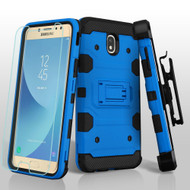 Military Grade Certified Storm Tank Hybrid Case + Holster + Tempered Glass for Samsung Galaxy J7 (2018) - Blue