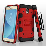 Military Grade Certified Storm Tank Hybrid Case + Holster + Tempered Glass for Samsung Galaxy J7 (2018) - Red