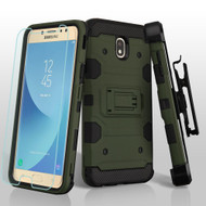 *SALE* Military Grade Storm Tank Hybrid Case + Holster + Tempered Glass for Samsung Galaxy J7 (2018) - Forest Green