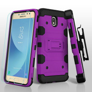 Military Grade Certified Storm Tank Hybrid Case + Holster + Tempered Glass for Samsung Galaxy J7 (2018) - Purple