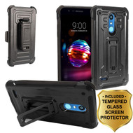 *SALE* 3-IN-1 Rugged Hybrid Kickstand Case with Holster and Tempered Glass for LG K30 / Harmony 2 / Premier Pro - Black