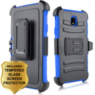 Advanced Armor Hybrid Kickstand Case + Holster + Tempered Glass Screen Protector for Samsung Galaxy J7 (2018) - Blue