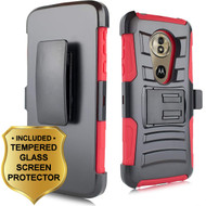 Advanced Armor Hybrid Stand Case + Holster + Tempered Glass Screen Protector for Motorola Moto G6 Play / G6 Forge - Red
