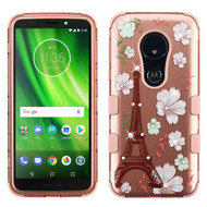 Military Grade Certified TUFF Image Hybrid Armor Case for Motorola Moto G6 Play / G6 Forge - Eiffel Tower Rose Gold