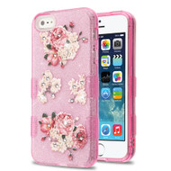 Tuff Full Diamond Glitter Hybrid Protective Case for iPhone SE / 5S / 5 - European Peony
