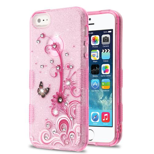 Tuff Full Diamond Glitter Hybrid Protective Case for iPhone SE / 5S / 5 - Butterfly Flowers