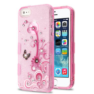 Tuff Full Diamond Glitter Hybrid Protective Case for iPhone SE / 5S / 5 - Butterfly Flowers