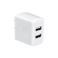 Universal Dual USB Ports AC Travel Wall Charger Adapter - White