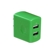 Universal Dual USB Ports AC Travel Wall Charger Adapter - Green