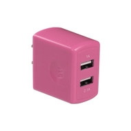 Universal Dual USB Ports AC Travel Wall Charger Adapter - Pink