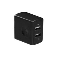 Universal Dual USB Ports AC Travel Wall Charger Adapter - Black