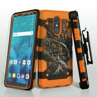 Military Grade Certified Storm Tank Hybrid Case + Holster + Tempered Glass Screen Protector for LG Stylo 4 - Tree Camouflage Orange