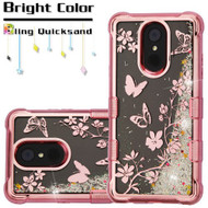 Electroplating Tuff Lite Quicksand Case for LG Stylo 4 - Butterflies in Spring