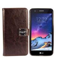 Leather Wallet w/ Removable Magnetic Case for LG Aristo 2 / Fortune 2 / K8 (2018) / Tribute Dynasty / Zone 4 - Dark Brown