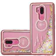 Electroplating Quicksand Glitter Transparent Case for LG G7 ThinQ - Dreamcatcher Rose Gold