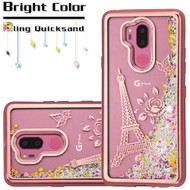 Electroplating Quicksand Glitter Transparent Case for LG G7 ThinQ - Eiffel Tower Rose Gold
