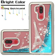 Electroplating Quicksand Glitter Transparent Case for LG G7 ThinQ - Eiffel Tower Silver
