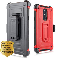 3-IN-1 Rugged Hybrid Kickstand Case with Holster and Tempered Glass Screen Protector for LG Stylo 4 - Red