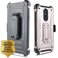 3-IN-1 Rugged Hybrid Kickstand Case with Holster and Tempered Glass Screen Protector for LG Stylo 4 - Rose Gold