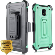 3-IN-1 Rugged Hybrid Kickstand Case with Holster and Tempered Glass Screen Protector for Samsung Galaxy J3 (2018) - Mint Green