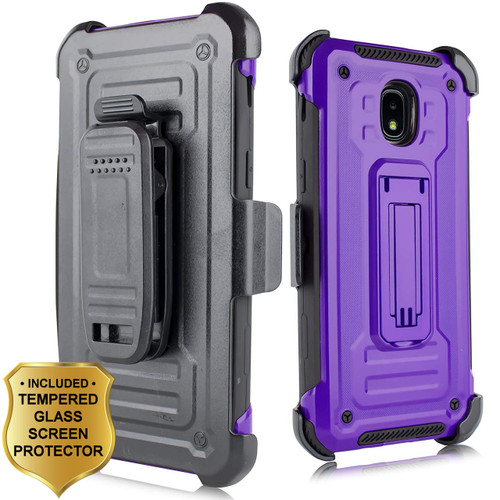 3 In 1 Rugged Hybrid Kickstand Case Holster Tempered