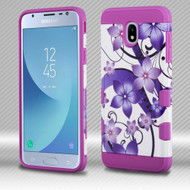 Military Grade Certified TUFF Trooper Dual Layer Hybrid Case for Samsung Galaxy J3 (2018) - Purple Hibiscus Flower Romance